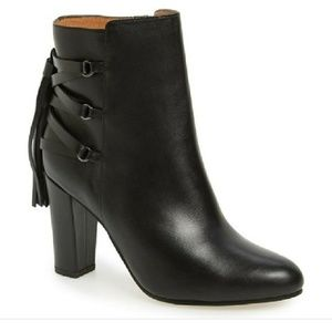 Halogen Black Leather tassel booties